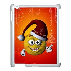 Cute Funny Christmas Smiley With Christmas Tree Apple Ipad 3/4 Case (white)