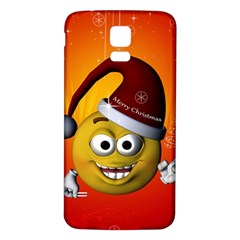 Cute Funny Christmas Smiley With Christmas Tree Samsung Galaxy S5 Back Case (white) by FantasyWorld7