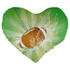 American Football  Large 19  Premium Flano Heart Shape Cushions by FantasyWorld7