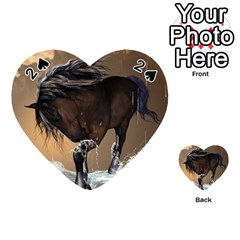 Beautiful Horse With Water Splash Playing Cards 54 (heart)