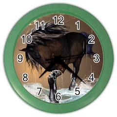 Beautiful Horse With Water Splash Color Wall Clocks by FantasyWorld7