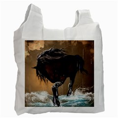 Beautiful Horse With Water Splash Recycle Bag (one Side) by FantasyWorld7