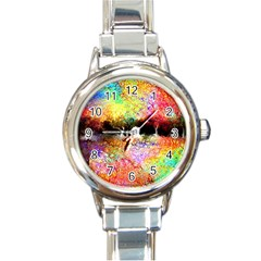 Colorful Tree Landscape Round Italian Charm Watches by digitaldivadesigns