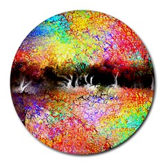 Colorful Tree Landscape Round Mousepads by digitaldivadesigns