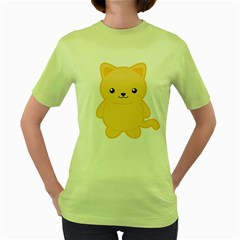 Kawaii Cat Women s Green T Shirt