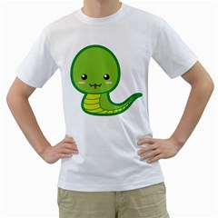 Kawaii Snake Men s T Shirt (white) (two Sided)