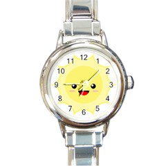 Kawaii Sun Round Italian Charm Watches