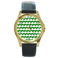 Tree Illustration Gifts Round Gold Metal Watches