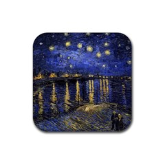 Vincent Van Gogh Starry Night Over The Rhone Rubber Square Coaster (4 Pack)