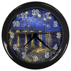 Vincent Van Gogh Starry Night Over The Rhone Wall Clocks (black)