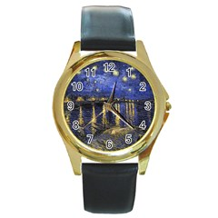 Vincent Van Gogh Starry Night Over The Rhone Round Gold Metal Watches by MasterpiecesOfArt