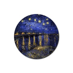 Vincent Van Gogh Starry Night Over The Rhone Rubber Coaster (round)  by MasterpiecesOfArt