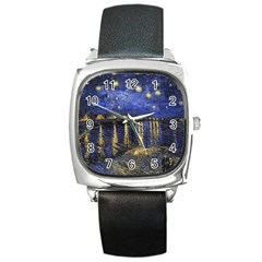 Vincent Van Gogh Starry Night Over The Rhone Square Metal Watches