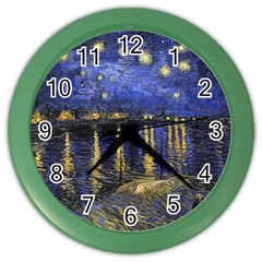 Vincent Van Gogh Starry Night Over The Rhone Color Wall Clocks by MasterpiecesOfArt