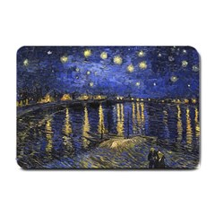 Vincent Van Gogh Starry Night Over The Rhone Small Doormat  by MasterpiecesOfArt