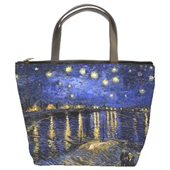 Vincent Van Gogh Starry Night Over The Rhone Bucket Bags by MasterpiecesOfArt