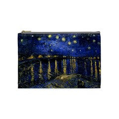 Vincent Van Gogh Starry Night Over The Rhone Cosmetic Bag (medium)  by MasterpiecesOfArt
