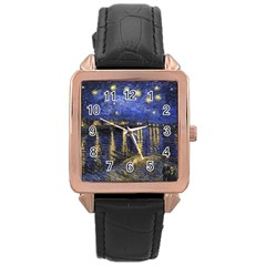 Vincent Van Gogh Starry Night Over The Rhone Rose Gold Watches by MasterpiecesOfArt