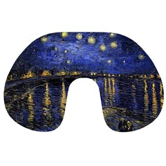 Vincent Van Gogh Starry Night Over The Rhone Travel Neck Pillows by MasterpiecesOfArt