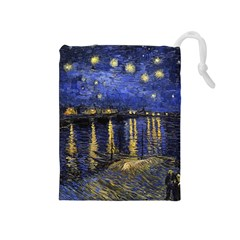 Vincent Van Gogh Starry Night Over The Rhone Drawstring Pouches (medium)  by MasterpiecesOfArt