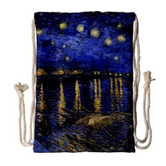 Vincent Van Gogh Starry Night Over The Rhone Drawstring Bag (large) by MasterpiecesOfArt