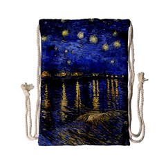 Vincent Van Gogh Starry Night Over The Rhone Drawstring Bag (small) by MasterpiecesOfArt