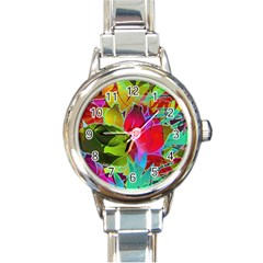 Floral Abstract 1 Round Italian Charm Watches by MedusArt