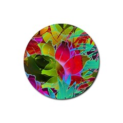 Floral Abstract 1 Rubber Round Coaster (4 Pack)  by MedusArt