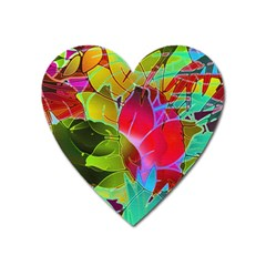 Floral Abstract 1 Heart Magnet by MedusArt