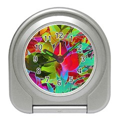 Floral Abstract 1 Travel Alarm Clocks by MedusArt