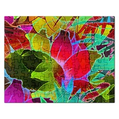 Floral Abstract 1 Rectangular Jigsaw Puzzl by MedusArt