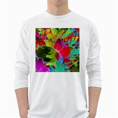 Floral Abstract 1 White Long Sleeve T Shirts by MedusArt