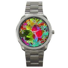 Floral Abstract 1 Sport Metal Watches by MedusArt