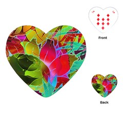 Floral Abstract 1 Playing Cards (heart)  by MedusArt