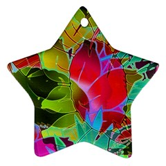 Floral Abstract 1 Star Ornament (two Sides)  by MedusArt