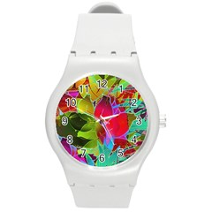 Floral Abstract 1 Round Plastic Sport Watch (m) by MedusArt