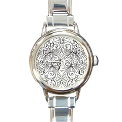 Drawing Floral Doodle 1 Round Italian Charm Watches by MedusArt