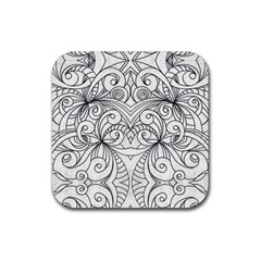 Drawing Floral Doodle 1 Rubber Coaster (square)  by MedusArt