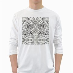 Drawing Floral Doodle 1 White Long Sleeve T-shirts by MedusArt