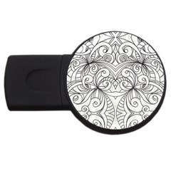 Drawing Floral Doodle 1 Usb Flash Drive Round (4 Gb)  by MedusArt