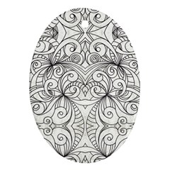 Drawing Floral Doodle 1 Oval Ornament (two Sides) by MedusArt