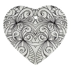 Drawing Floral Doodle 1 Heart Ornament (2 Sides) by MedusArt