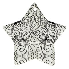 Drawing Floral Doodle 1 Star Ornament (two Sides)  by MedusArt