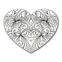 Drawing Floral Doodle 1 Heart Mousepads by MedusArt