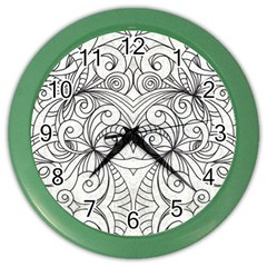 Drawing Floral Doodle 1 Color Wall Clocks by MedusArt