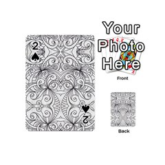Drawing Floral Doodle 1 Playing Cards 54 (mini)  by MedusArt