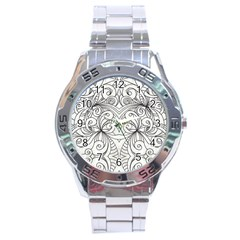 Drawing Floral Doodle 1 Stainless Steel Men s Watch by MedusArt