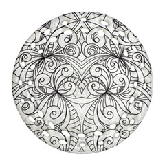 Drawing Floral Doodle 1 Round Filigree Ornament (2side) by MedusArt