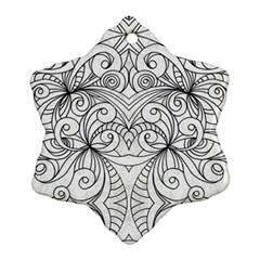 Drawing Floral Doodle 1 Snowflake Ornament (2 Side) by MedusArt