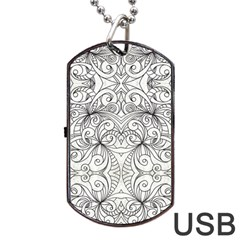 Drawing Floral Doodle 1 Dog Tag Usb Flash (two Sides)  by MedusArt